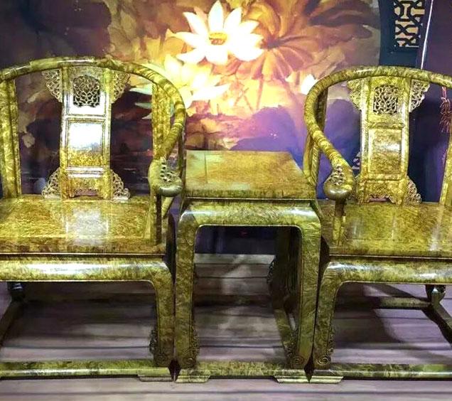 黄金樟皇宫椅三件套